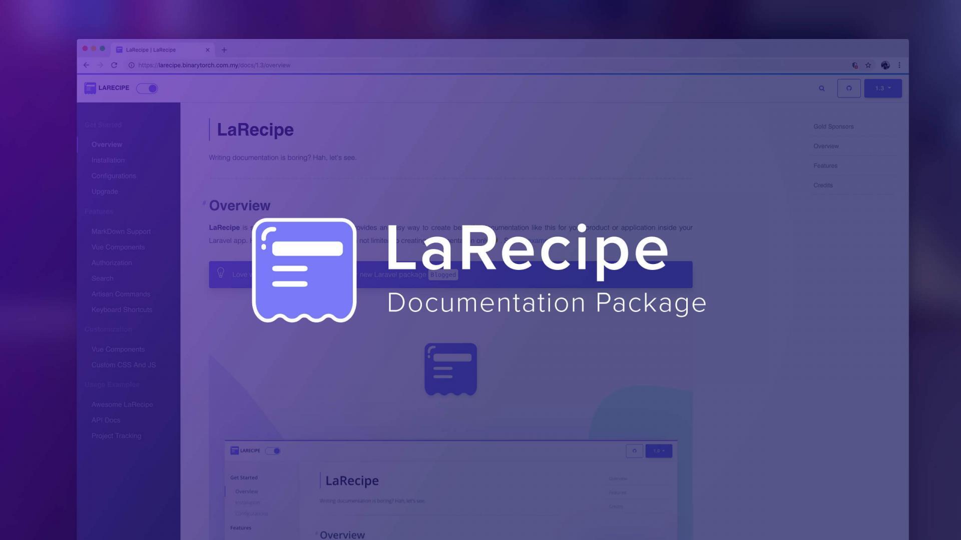 Larecipe Documentation Package