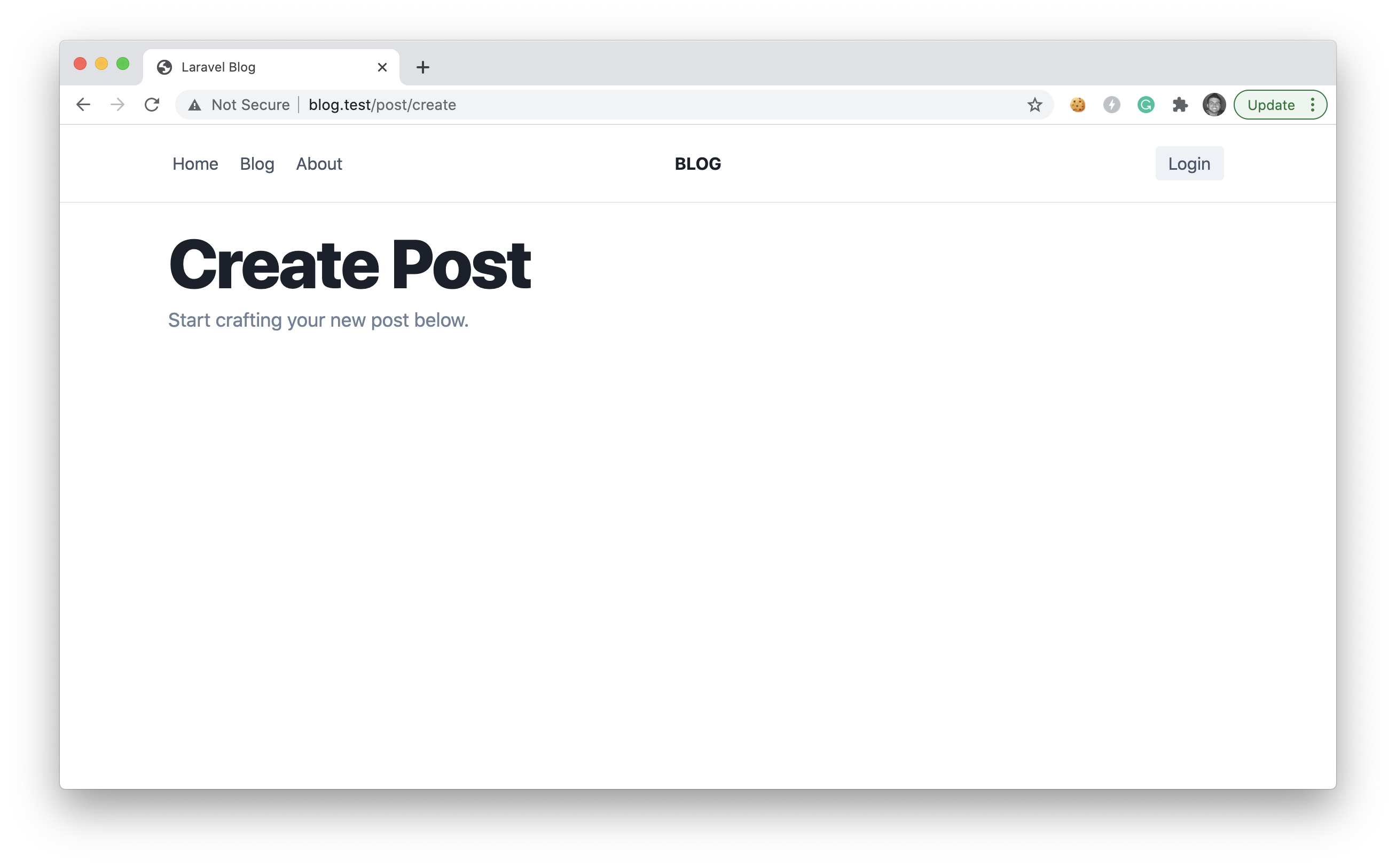create post page