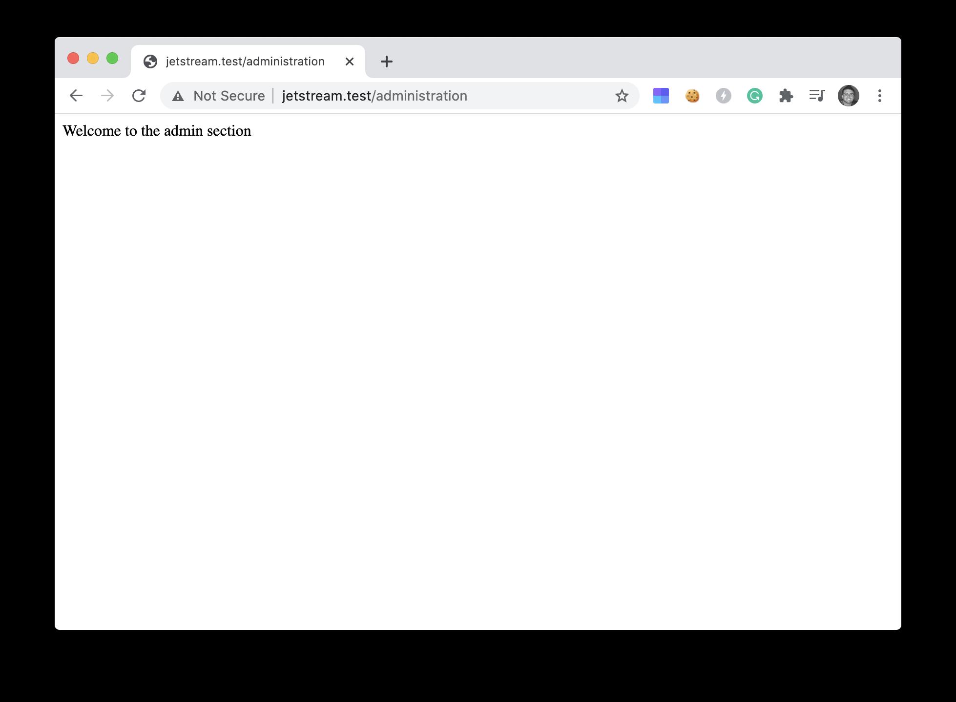 Admin access screenshot
