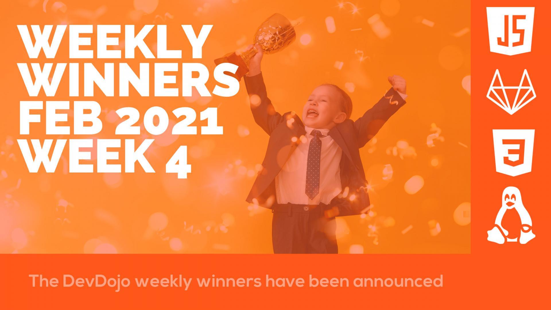 DevDojo Weekly Winners Week 4 Feb 2021