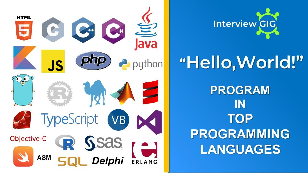 """Hello World""Program in different Programming Languages"